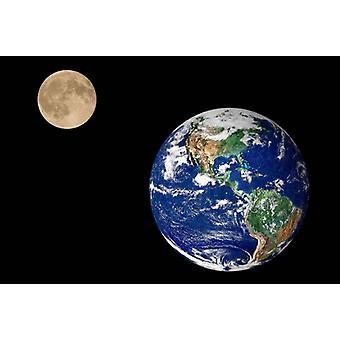 Fond d'écran Mural Earth and Moon