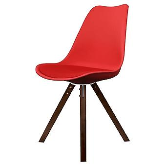 Fusion Living Eiffel Inspired Red Plastic Dining Chair With Square Pyramid Dark Wood Legs