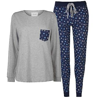 Rock and Rags Womens Ladies Table Pyjama Set Long Sleeve Crew Neck