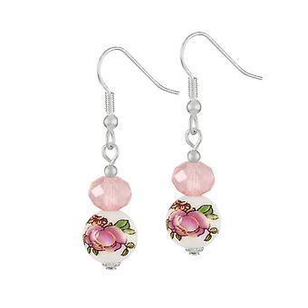 Ewige Sammlung Captivation Rose Pink Kristall floralen Silberfarbe Drop Ohrstecker