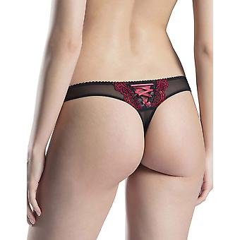 Aubade FH26 Women's Passion Nocturne Volupte Red and Black Lace Embroidered Tanga
