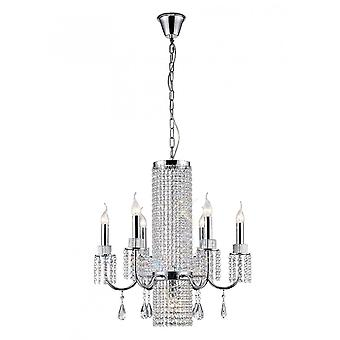 Diyas Emily Pendant 6 Light Polished Chrome/Crystal