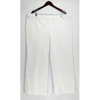 H by Halston Petite Pants 22WP Studio Stretch Wide Leg w/ Pockets White A289577