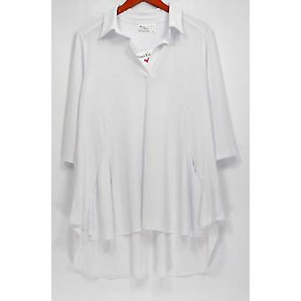 Women with Control Petite Top Crepe Jersey Tunic White A290084