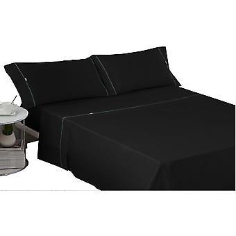 Wellindal Juego sábanas liso con biés negro 4 piezas