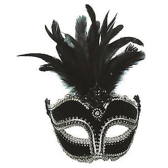 Bristol nyhet kvinner/damer fløyel øye maske med høye fjær