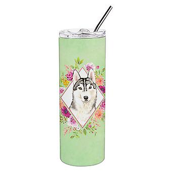 Siberian Husky Green Flowers Double Walled Stainless Steel 20 oz Skinny Tumbler