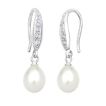Elli Pendant Women's Silver Earrings with Cubic Zirconia and Cultivated Pearls D'Sweet Water