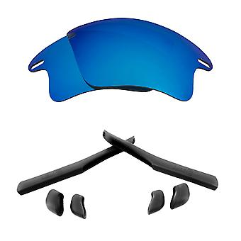Replacement Lenses Kit for Oakley Fast Jacket XL Blue Mirror Black Anti-Scratch Anti-Glare UV400 by SeekOptics