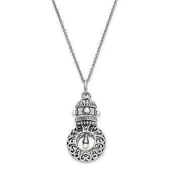 925 Sterling Silver Polerad Spring Ring Rodium pläterad sötvatten odlade Pärlhalsband 18 tums smycken gåvor för Wom
