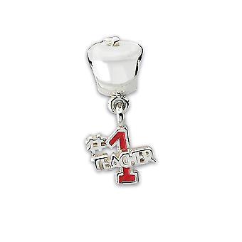 925 Sterling sølv emalje polert refleksjoner Eple med nummer 1 lærer Dingle perle sjarm
