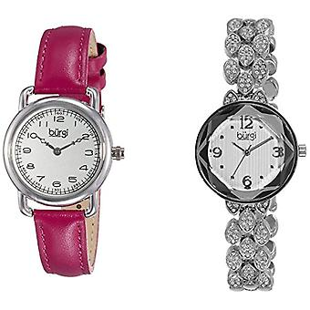 Burgi BUR133SS Set analoog kwarts pols horloge, analoog, vrouwtje, 2 stuks