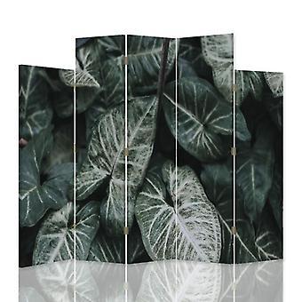 Dekorativa rumsavdelare, 5 paneler, dubbelsidig, canvas, gröna blad
