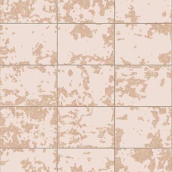 Metallic Tile Wallpaper Blush / Rose Gold Muriva L62603