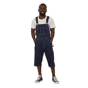 Blake mens dungaree shorts - indigo