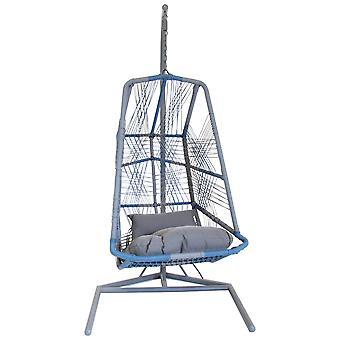 Charles Bentley Retro Garden Hanging Chair Swing met verwijderbare clip - Wicker Rotan - Doucheproof