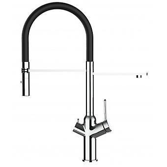 3 sätt köks filter Sink mixer med svart fjäder pip och 2 Jet Spray, fungerar med alla vattenfilter system-352