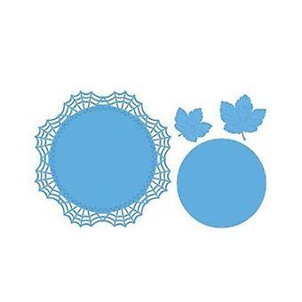 Marianne Design laget av blad Doily dø, blå