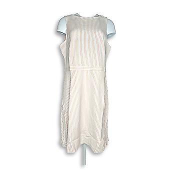 Isaac Mizrahi Live! Dress Striped Knit Sleeveless Light Pink A275823