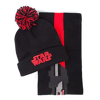 Star Wars Darth Vader Lightsabre Bobble Beanie & Scarf Gift Set Unisex Black/Red