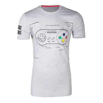 Nintendo SNES Controller Super Power T-Shirt Homme Grand Gris (TS241058NTN-L)