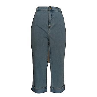 Joan Rivers Classics collectie vrouwen ' s broek denim bijgesneden blauw A304661