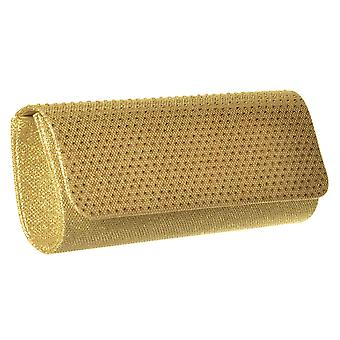 Onlineshoe Sparkly Diamante Evening Clutch Handbag Purse - Gold Diamante, Silver Diamante