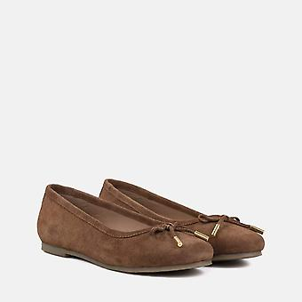 Darcey tan suede flat pumps