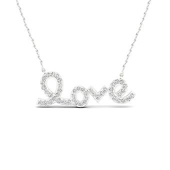 Igi certified s925 sterling silver 0.15ct tdw diamond love necklace