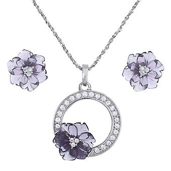 Annaleece 'Royal Bloom' Necklace and Earrings Set Made With Swarovski Crystals