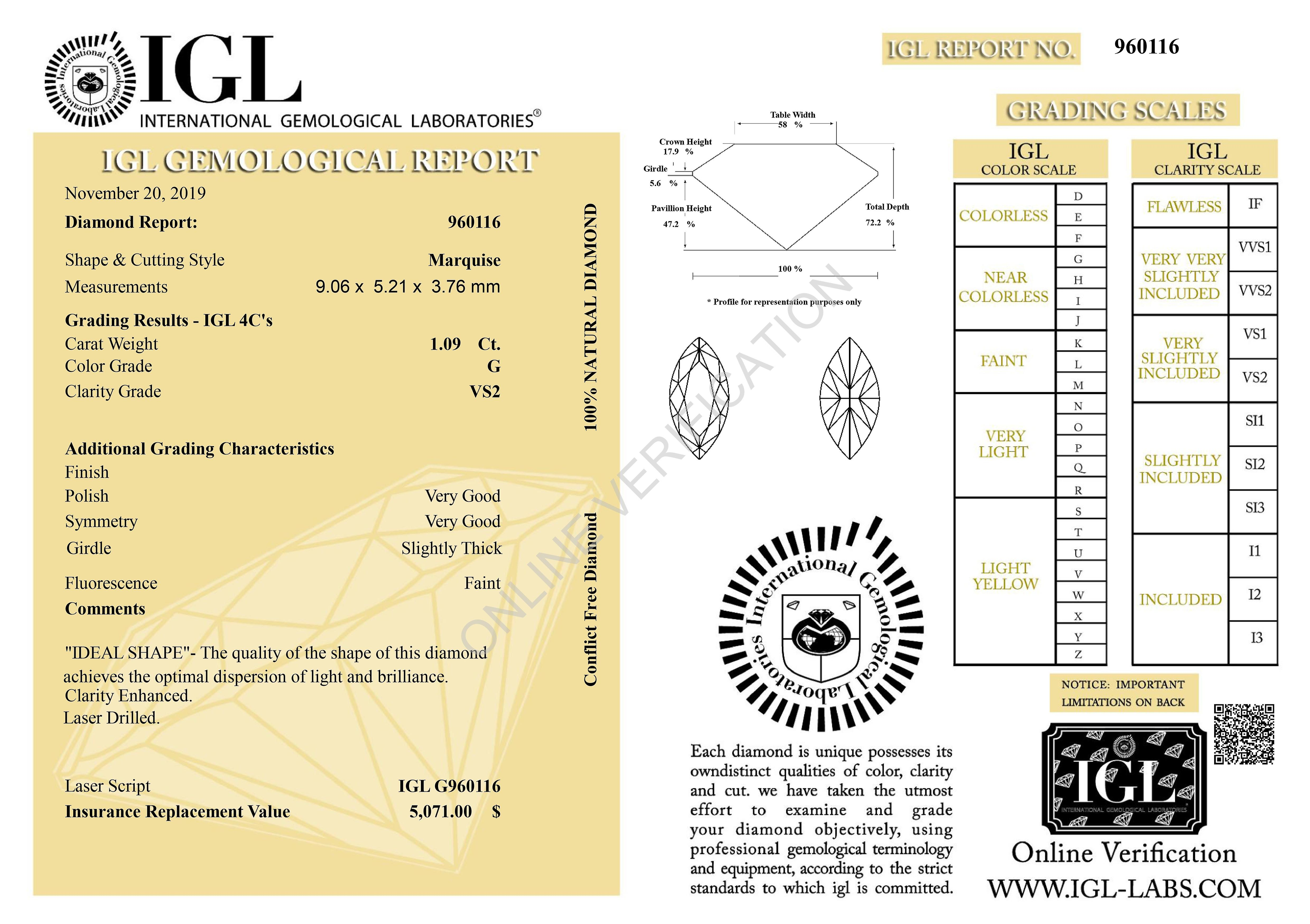 Certified 1.09 Carat G VS2 Marquise Enhanced Natural Loose Diamond 9.06x5.21mm