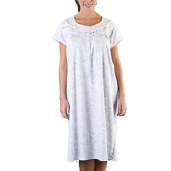 Ladies Floral Print Short Sleeve Button Front Nightdress Nighty Sleepwear 1117