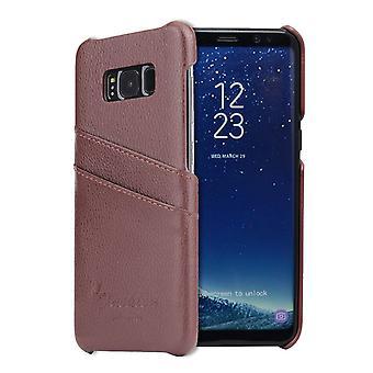 Para Samsung Galaxy S8 Case, Elegante Capa de Moda de Couro Genuína Artesanal, Marrom