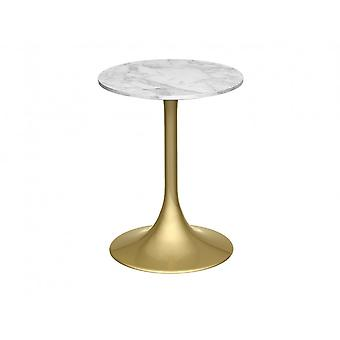 Gillmore Pedestal Side Table White Marble And Brass