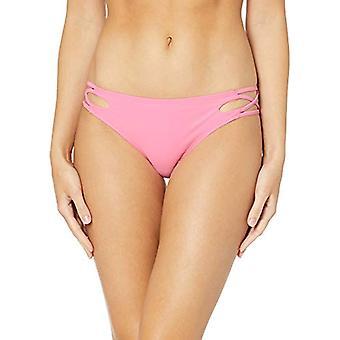California Sunshine Women's Strappy Lace Up Side Bikini Swim Bottom, Pink, La...