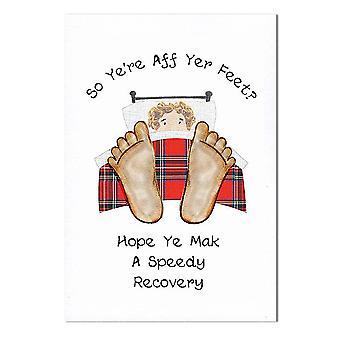 Embroidered Originals So Yer Aff Yer Feet Get Well Card