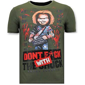 T-shirt - Bloody Chucky Angry Print - Green