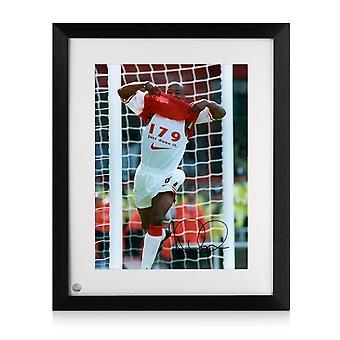 Ian Wright Ha firmato Arsenal Photo: 179 Obiettivi. incorniciato