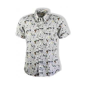 Far Afield Mod Button Down Short-Sleeved Shirt (Map)