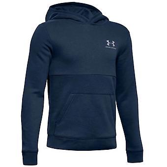 Under Armour Cotton Fleece Over Head Kids Hoodie Hoody Jacket Navy Blue