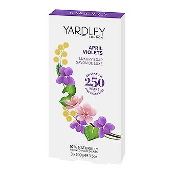 Yardley London English Luxury Soap - April Violets - Sensual Elegant Flowers Fragrance 3x100g