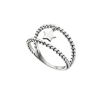Alkaa Sterling Silver Double Band Ball Star Charm Ring R3730