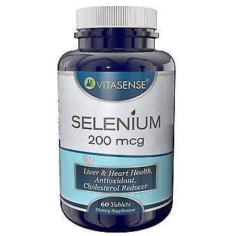 VitaSense Selen 200 mcg - Lever & hjärta Hälsa Antioxidant Kolesterol Reducer - 60 tabletter