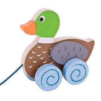 Bigjigs lelut puinen ankka vetää pitkin lelu