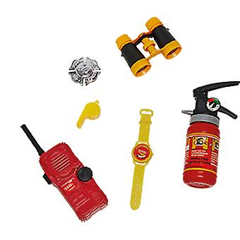Corpo de Bombeiros Set Kids 6tlg Badge Walkie Talkie Clock Fire Extintor Telescope Trill Pipe