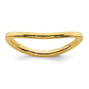 1.5mm 925 Sterling Silver Stackable Expressions Polished 14k Gold PlatedWave Ring Jewelry Gifts for Women - Ring Size: 5
