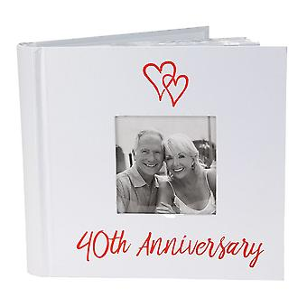 Lovely Ruby 40th Wedding Anniversary Photo Album with Double Heart Decoration