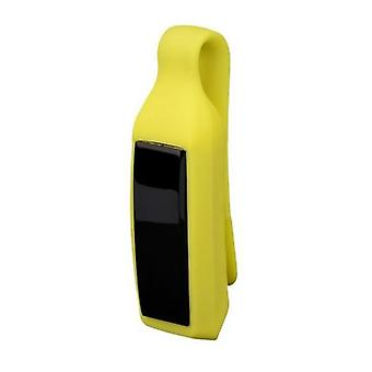 Fitbit Alta用の交換用シリコーンクリップカバー保護ケースホルダー[黄色]