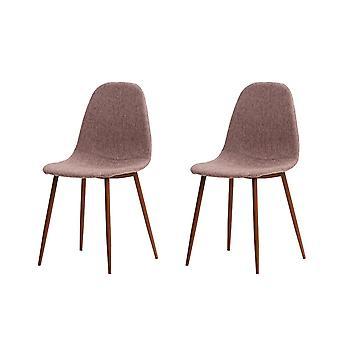 Sofie Chair Color Tortora, Bois foncé en Multicouche, Lino, Coton, Polyester, Métal 45x44.5x88 cm