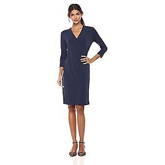 Brand - Lark & Ro Women's Crepe Knit Faux Wrap Dress, Navy, 6